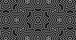 4K Abstract geometric kaleidoscope pattern with an alpha channel. Thin lines shapes move endlessly random. Black and white seamless motion background. Looped 30 vector illustration