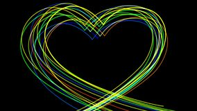 4k Abstract heart love neon line glow led wedding valentines day background. stock video footage