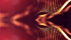 4k abstrakcjonistyczny tło rozjarzone złote czerwone cząsteczki z olśniewającym bokeh błyska Ciemny skład z oscylować Ilustracji