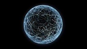 4K accendono le particelle che orbitano in una formazione sferica stock footage
