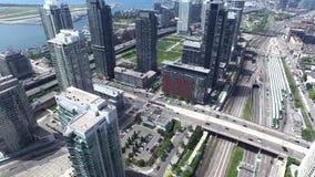 4k aerial bird eye view on modern urban scyscraper financial district of Toronto stock video footage