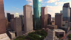 4k aerial cityscape of big modern urban financial downtown district skyscraper architecture of Houston city Texas. Aerial cityscape of big modern urban financial stock video