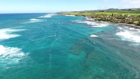4k aerial drone cam panorama seascape of wild nature green tropical Hawaiian island amazing summer turquoise blue ocean. Aerial drone cam panorama seascape of stock video footage
