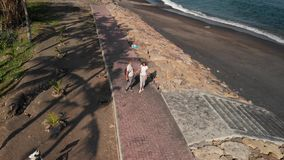 4K aerial drone flying footage of young couple on the wild black sand beach. Bali island. Indonesia stock images