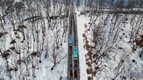 4K Aerial drone footage. Fly over Kiyv funicular at winter. Aerial drone footage. Fly over Kiyv funicular at winter stock video