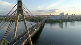 4K Aerial drone footage. Movkovsky bridge at sunset stock video