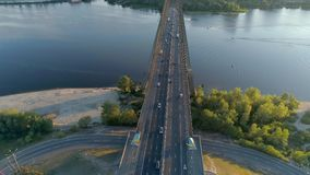 4K Aerial drone footage. Radial fly over movkovsky bridge at sunset. Aerial drone footage. Radial fly over movkovsky bridge at sunset stock video
