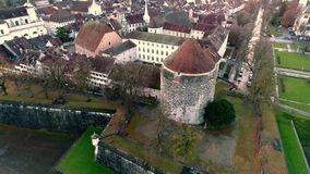 Amazing 4k aerial drone landscape view on big medieval ancient city with old architecture building church by river stock video