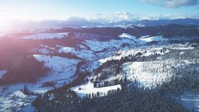 4K Aerial Drone View: Holidays in Ski Resort Bukovel stock video footage
