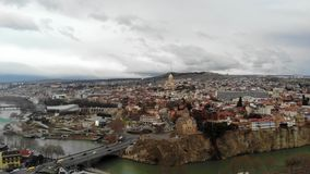 4k aerial drone view of Tbilisi stock footage