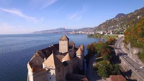 4K Aerial footage of Chillon Castle in Montreux, Switzerland stock footage