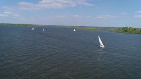 4K Aerial footage. Fly over yacht regatta sailing stock footage