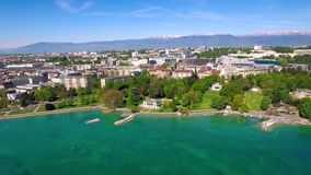 4K Aerial footage of Geneva city  in Switzerland -UHD stock video