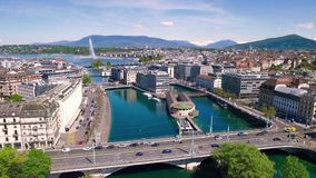 4K Aerial footage of Geneva city  in Switzerland -UHD stock video footage