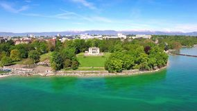4K Aerial footage of Geneva city  in Switzerland -UHD stock footage