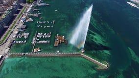 4K Aerial footage of Geneva city water fountain in Switzerland -UHD. 4K Aerial footage of Geneva city water fountain in Switzerland UHD stock video footage