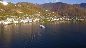 4K Aerial footage of Montreux - Leman Lake waterfront, Switzerland stock video