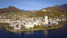 4K Aerial footage of Montreux - Leman Lake waterfront, Switzerland stock footage