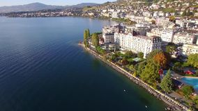 4K Aerial footage of Montreux - Leman Lake waterfront, Switzerland stock video footage