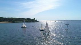 4K Aerial footage. Place boats reversal at the regatta stock footage