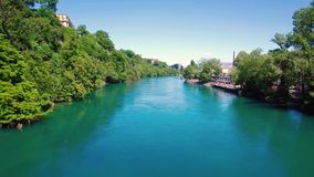 4K Aerial footage of Rhone river in Geneva city  in Switzerland -UHD stock video