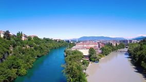 4K Aerial footage of Rhone river in Geneva city  in Switzerland -UHD stock footage