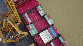 4K Aerial Harbor with cargo containers stock footage