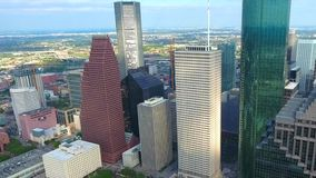 4k aerial panorama drone shot of tall financial district modern urban skyscrapers in Houston city downtown in Texas. Aerial panorama drone shot of tall financial stock video footage