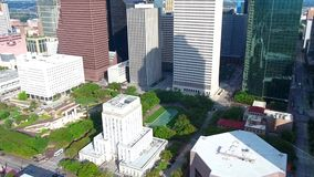 4k aerial panorama view on beautiful modern urban architecture cityscape of financial district of Houston downtown Texas. Aerial panorama view on beautiful stock video footage