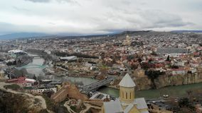 4k aerial panoramic view caucasian city center in Tbilisi. film footage stock video footage