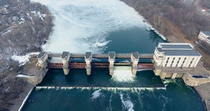 4K Aerial shot of a dam and waterfalls on river. Top view. stock video footage