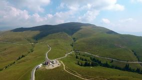 4K aerial shot of the highest altitude mountain road