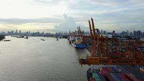 4K Aerial shot of industrial shipping port in Bangkok.  stock footage