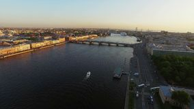 4k aerial shot of Saint-Petersburg with view on river Neva and bridge stock video footage