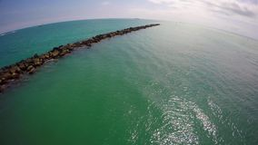 4k aerial video Miami Beach jetty stock video footage