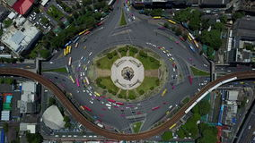 4K Aerial view of Bangkok roundabout victory monument traffic.  stock video