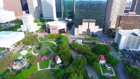 4k aerial view on busy urban modern downtown financial district of big Houston city Texas with beautiful skyscrapers. View on busy urban modern downtown stock footage