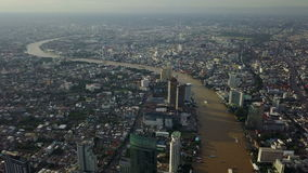 4K Aerial view of Chao Phraya river in Bangkok Thailand stock video footage