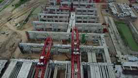 4K Aerial view of construction site in city stock video