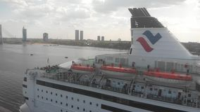 4k aerial view of cruise liner stock footage