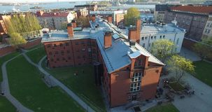 4K aerial view drone video of Helsinki old prison buildings in Finland, northern Europe stock video