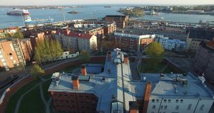 4K aerial view drone video of Helsinki old prison buildings in Finland, northern Europe stock footage