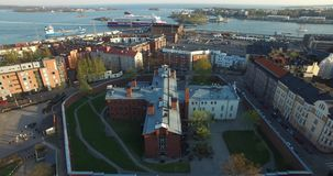 4K aerial view drone video of Helsinki old prison buildings in Finland, northern Europe stock video footage