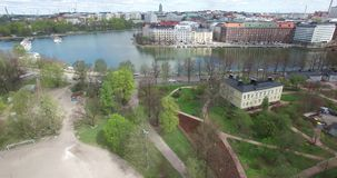 4K aerial view drone video of Helsinki sport field near sea and city center in Finland, northern Europe stock video