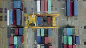 4K Aerial view of finding cargo container.  stock video