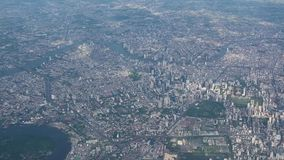 4K Aerial view flying over Bangkok cityscape stock video footage