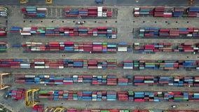 4K Aerial view of industrial and container ship logistic the harbor.  stock footage