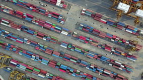 4K Aerial view of industrial port with containers.  stock video