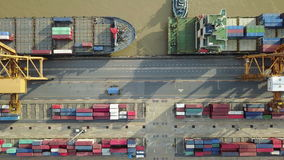 4K Aerial view of industrial port with containers ship.  stock footage