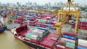 4K Aerial view of industrial port at Thailand